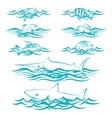 hand drawn fish in waves vector image