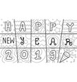 Hand drawn typographic happy new year 2019