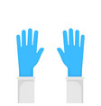 hands putting on protective blue gloves vector image vector image