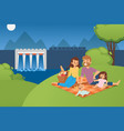 happy family people on picnic together at vector image vector image