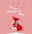 happy mothers day fox cartoon vector image