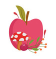happy thanksgiving day apple mushroom berry vector image vector image
