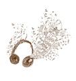 Headphones doodle art background vector image vector image