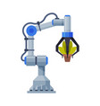 industrial machine robotic arm with potted plant vector image