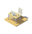 isometric office workplace beige tones vector image vector image