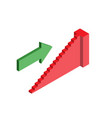ladder red isometry with green arrow business vector image vector image