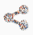 large group people in share sign shape vector image