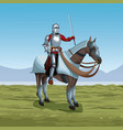 medieval warrior with horse on battlefield vector image