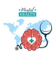 mental health day world stethoscope and brain vector image vector image
