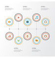 music icons flat style set with voice begin vector image vector image
