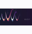 music sound neon wave abstract shape on dark vector image vector image