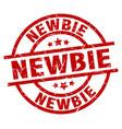 newbie round red grunge stamp vector image vector image