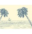 palm trees sea contour silhouette vector image