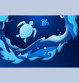 paper art underwater world ocean with turtles vector image vector image