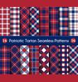 patriotic tartan set white blue red seamless vector image vector image