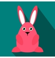Pink easter bunny flat icon vector image