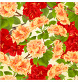 seamless texture branch red and yellow hibiscus vector image vector image