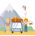 summer outdoor family vacation boy and girl man vector image