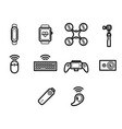 thin line technology icon set vector image