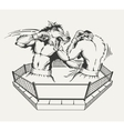 Two boxers fight with the body of man and a wolfs vector image vector image