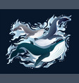 whales family sleek set vector image vector image