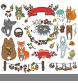 Wild animals decor elementsWoodlandautumn vector image vector image