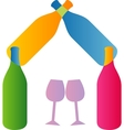 wine and house logo vector image vector image