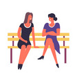 women sitting on bench talking and discussing vector image vector image