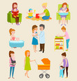 young mother characters diferent pose vector image vector image