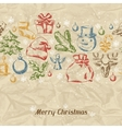 Merry Christmas hand drawn invitation card vector image