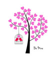 valentines day birds with tree and birdcage vector image