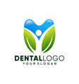 abstract people dental logo design template vector image