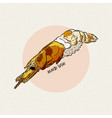 aka ebi sushi hand draw sketch vector image vector image