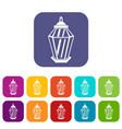 arabic lantern icons set vector image vector image