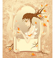 Autumn girl with a scroll on grunge background vector image vector image