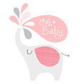 baby shower elephant in pink and gray oh vector image vector image
