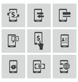 Black mobile banking icons set