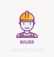 builder in helmet thin line icon vector image vector image