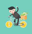 business man riding a money bicycle with parcel vector image vector image