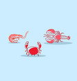 cartoon red crab lobster shrimb icon fresh seafood vector image