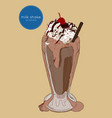 chocolate milk shake sketch vector image vector image