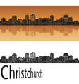 Christchurch skyline in orange vector image vector image