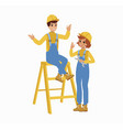 construction female and male worker character vector image vector image