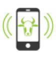 cow mobile control halftone icon vector image
