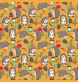 cute background with hedgehog forest set vector image vector image