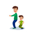 dad and son squatting together sport family and vector image vector image