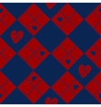 Diamond Chessboard Red Navy Blue Heart Valentine vector image vector image