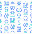 family seamless pattern with thin line icons vector image vector image