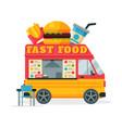 fast food truck street meal van fast food vector image vector image