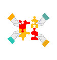 four hands collecting puzzle - teamwork and vector image